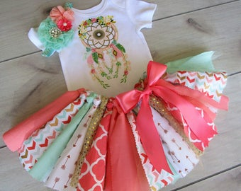 3 pc stunning DREAM CATCHER TRIBAL Tutu Set/ Mint, Peach and Coral with Gold theme/ Photo Shoot/ Birthday Outfit