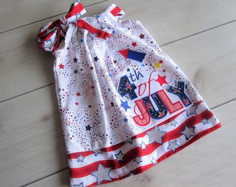 Fourth of July - Custom Americana Stars & Stripes Pillowcase dress Only  Sizes 0-6mo, 6-12mo, 12-18mo, 18-24mo, 2t, 3t, 4t, 5/6, 7/8