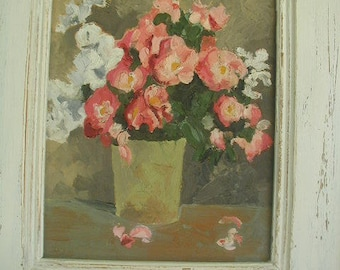 "Vintage Original Naive Oil Painting, Original Oil Painting, Pink and White Roses,  16 x 18 1/4"",  Shabby Cottage, White Antiqued Frame"