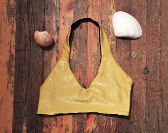Reversible Halter Sport bikini/bra, Black and Gold