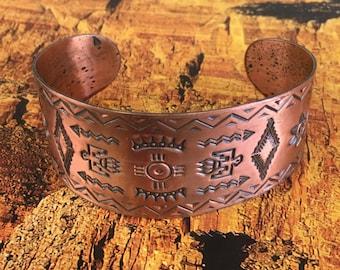 Boho Copper Southwestern Cuff Bracelet Stamped Metal Thunderbird ArrowHead Large Sunbell Copper