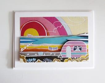 Papercut art caravan by the sea 3D greetings card