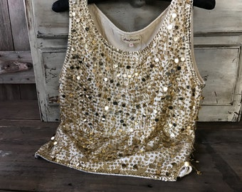 1950s Classic Gold Beaded Sequins Shell Top, Wedding, Bridal, Mother of the Bride, Mad Men, Vintage Hollywood