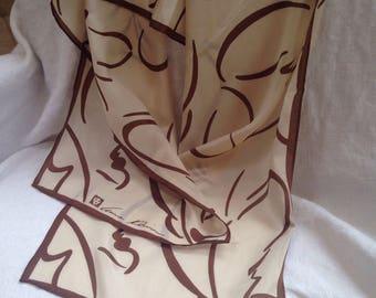 Anne Klein Silk Scarf Abstract Butterfly Tan Brown