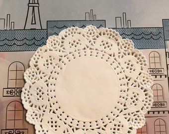 "White Doilies 5"" Round / 50 White Paper Doilies for Cards, Smash Journals, Altered Art, Mixed Media, Collage, etc."
