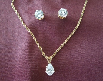 Vintage Rhinestone Necklace and Earrings Set, Gold Tone, Sparkling Stones, Post Earrings.