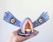 Ceramic Sculpture - Tea Light Holder - Mystic Vulva - w 22k Gold Lustre Detail