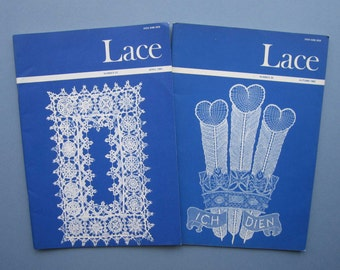 2 Vintage LACE GUILD Magazines - 1980 & 1981 issues. -Patterns Crafts Adverts