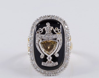 A magnificent Art Deco black  onyx and diamond rare urn ring