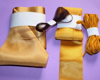 Golden ochre ribbon, wide satin ribbon, golden satin ,wide binding,brown silk, brown  organdy ribbon, Ochre Velvet
