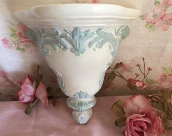 Vintage Corbel Shelf, white - glazed top  - Shabby Chic - Ornate wall shelf - Shabby Chic shelf