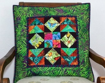 Boho-Chic Palm Fronds Quilted Pillow Cover OOaK