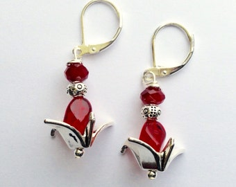 Red Beaded Origami Bird Earrings On Sterling Silver Leverbacks