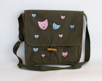 Cat Bag, Hand Painted Cats in Blue and Pink, Upcycled Vintage Military Bag, Green Cotton Canvas Messenger Bag, Army Surplus Bag