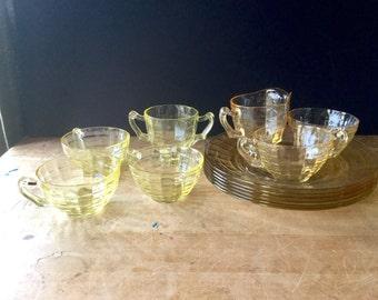 Vintage Anchor Hocking, Art Deco, Block Optic, Glass Dinnerware, Depression Glassware, 1930's, Old Yellow Glassware, Dishes Depression