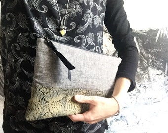 leather and linen bag, grey linen/snake leather clutch, small bag, small purse, clutch, purse, grey bag