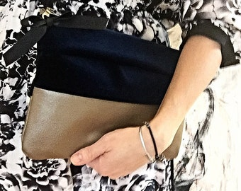 Leather clutch, leather and fabric clutch leather purse