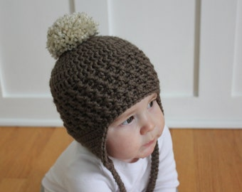 Brown Earflap and Pom-Pom Hat, Little boy earflap hat, Pom pom hat, Baby boy hat