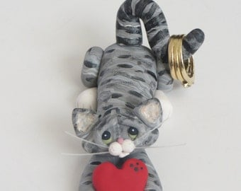 Gray Tabby Cat Valentines Figurine Ring Holder Polymer Clay