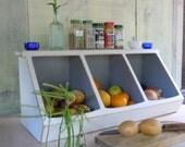 Storage- Kitchen Storage Boxes Handmade Rustic Furniture 3 bin White -MADE TO ORDER
