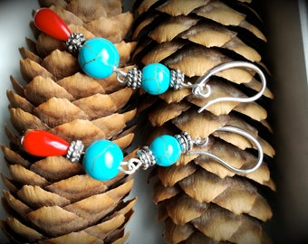 handmade turquoise howlite earrings, boho/gupsy/folk style, blue and red earrings, red turquoise, red howlite, chic earrings, earrings, boho
