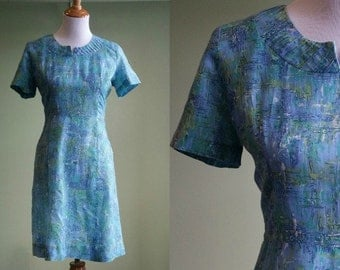 """1950s Cotton Day Dress - Vintage 50s Abstract Watercolor Dress - 32"""" Waist Large"""