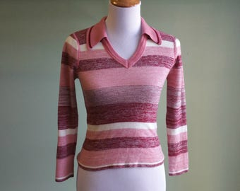 1970s Fitted Pink V Neck Sweater - XS 1970s Striped Sweater -