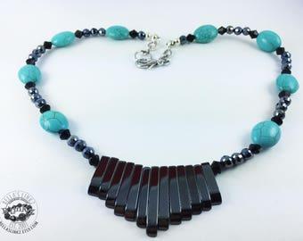 Hematite Fan & Turquoise Bead Necklace