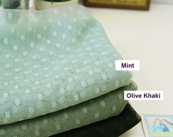 "Mesh Fabric with 4 mm Dots - Mint or Olive Khaki - 62"" Wide - Fabric By the Yard 51631"