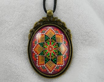 Round Christ Rose Pysanky Necklace
