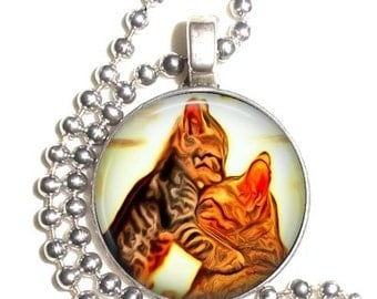 Cat Lovers Art Pendant, Kitty Kissing Cat Resin Photo Silver Charm Earrings, Keychain and/or Necklace
