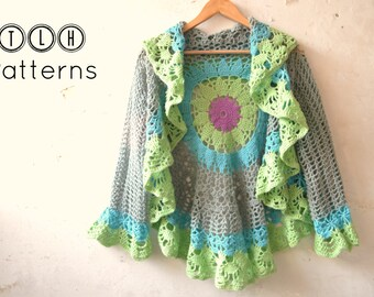 Crochet circular vest pattern, crochet circular shrug, crochet summer vest, Boho style vest, Crochet Bohemian mandala vest, pattern no . 85
