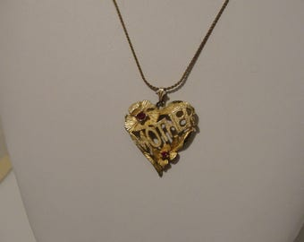 """Heart pendant with word mother and red rhinestones goldtone on 24"""" chain"""