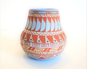 Vintage Navajo Pottery - Native American Pottery - Navajo Pottery - Whitegoat Pot - Etched Pottery - Ferguson Whitegoat Pottery