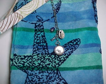 "Crossbody  Purse  Reversible  ""SEA LIFE"" Beach Bag  Washable Sling Bag with Keychain / Bagcharm"