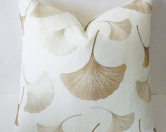 Embroidered Pillow, Leaves Pillow, Embroidered Linen Pillow, Gold Leaves Pillow, Linen Pillow Cover, Gold Pillow Cover, Throw Pillow Cover
