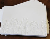 Tulip card set, set of eight embossed cards in white, perfect for thank yous, birthday, anniversary, showers, embossed blank cards