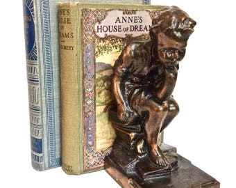 Antique Boy Statue Figural Bookend-Vintage Thinking Boy-Children's Vintage Books/Library 1 Available