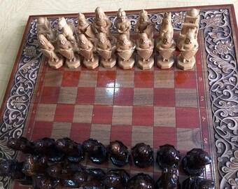 Uzbek Carved Walnut Wood Chess Set Handmade