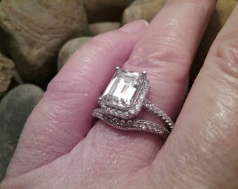 Halo Style Emerald Cut Engagement Ring Set Step Cut Engagement Ring