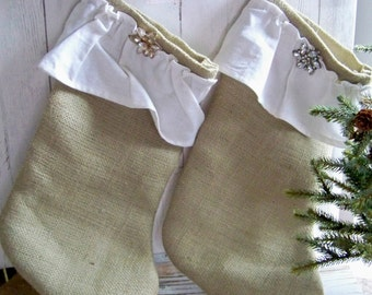 SALE--Set of Two Burlap and Ruffle Stockings, Handmade Burlap Stockings, Farmhouse Stockings, Holiday Burlap Stockings, Burlap Stockings