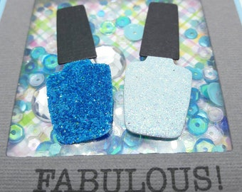 Blue nail polish theme stationery, you're fabulous, girlie gift, shiny nail polish, sparkle nail polish, sequin shaker