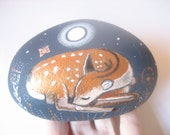 Hand painted large Deer and moon art stone/paperweight.
