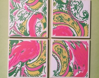 SALE Hot Wings Coasters Lilly Pulitzer, Flamingo Pattern, Paisley, Pink, Green, Yellow, White, Felt-Backed Tile Set of Four
