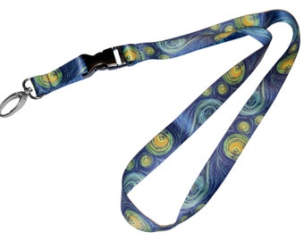 DutchArt Van Gogh Starry Night Premium Keychain Holder Lanyard