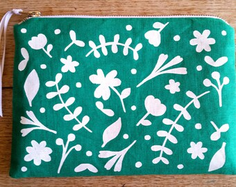 Floral white on bright emerald green - cotton linen - flat zip pouch - screen printed and handmade