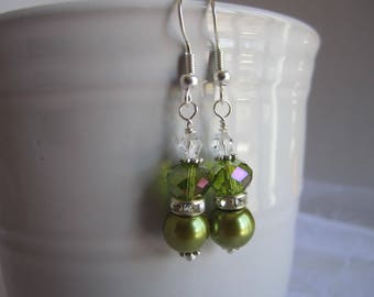 Olive Green Bridesmaid Earrings Maid of Honor Fall Wedding Jewelry Meadow Green