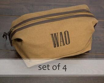 Best Men's Toiletry Bags / Personalized Groomsmen Gifts / Dopp Kits / Travel Kits for Men / Men's Wash Bags / Men's Travel Bags / Set of 4