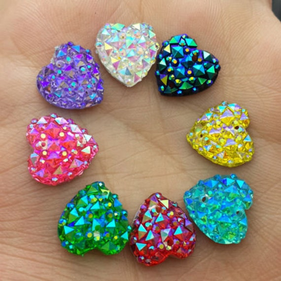 Mixed AB Flat Back Heart Sew On Resin Rhinestones Embellishment Gems