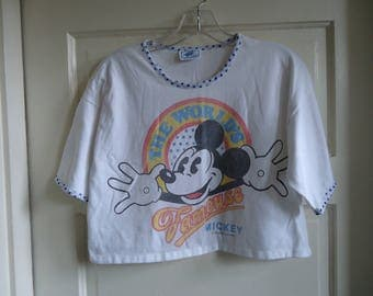 Vintage 90s MICKEY MOUSE Crop Top T Shirt sz S